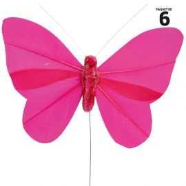 9 papillons unis en plumes fuchsia sur tige. 8,5 cm