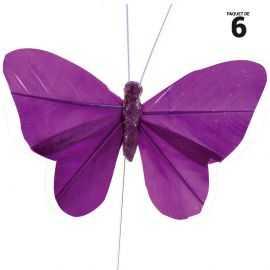 10 papillons unis en plumes prune sur tige. 8,5 cm