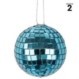 2 boules à facettes turquoise en verre. 6 cm