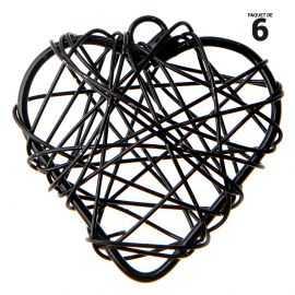 6 petits coeurs métal noir. 3 cm