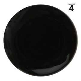 4 galets plat rond noir. 5 cm