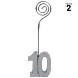 2 marques-places argent anniversaire 10 ans. 12 cm