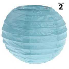2 lanternes papier bleu ciel. 10 cm
