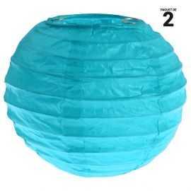 2 lanternes papier turquoise. 10 cm