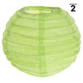 2 lanternes papier vert. 10 cm