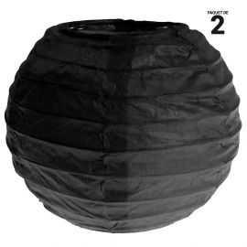 2 lanternes papier noir. 10 cm