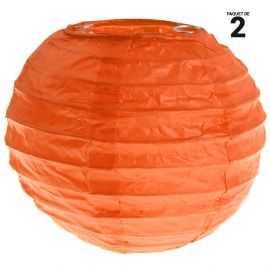 2 lanternes papier orange. 10 cm