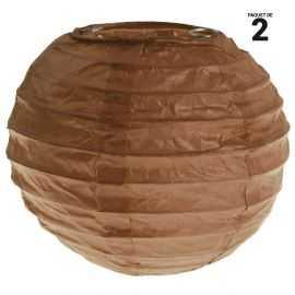 2 lanternes papier chocolat. 10 cm
