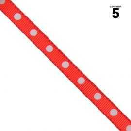 Ruban satin rouge à pois. 6 mm x 5 m.