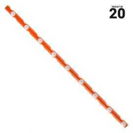 20 pailles papier à pois orange et blanches.