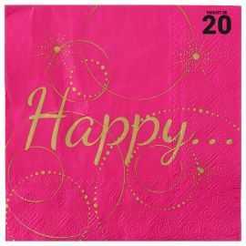 """20 serviettes papier fuschia """"Happy"""". 3 plis. 33 x 33 cm."""