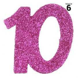 6 confettis anniversaire 10 ans fuchsia 5 cm