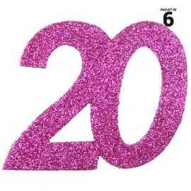 6 confettis anniversaire 20 ans fuchsia 5 cm