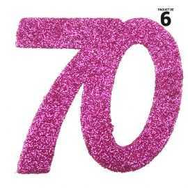 6 confettis anniversaire 70 ans fuchsia 5 cm