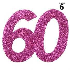 6 confettis anniversaire 60 ans fuchsia 5 cm