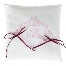 """Coussin d'allliance """"With Love"""" rose. 18 x 18 cm"""