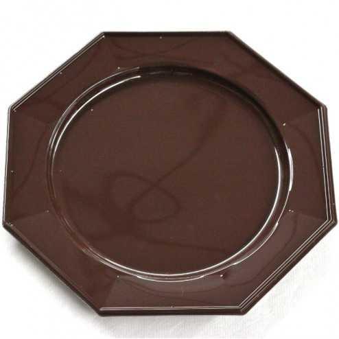 Assiette plastique octogonale luxe chocolat