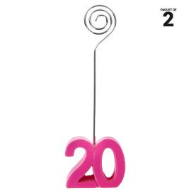 2 marques-places fuchsia anniversaire 20 ans. 12 cm