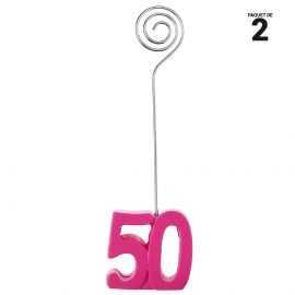 2 marques-places fuchsia anniversaire 50 ans. 12 cm