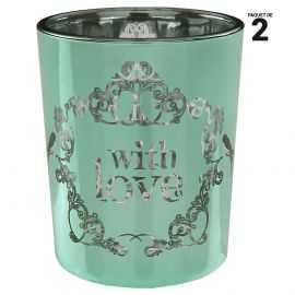 """2 photophores de table """"With Love"""" en verre. Vert-turquoise."""