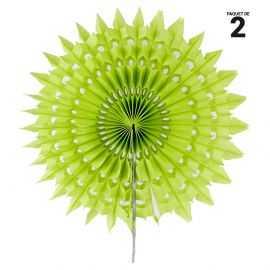 2 éventails papier dentelle vert. 20 cm