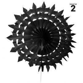 2 éventails papier dentelle noir. 20 cm