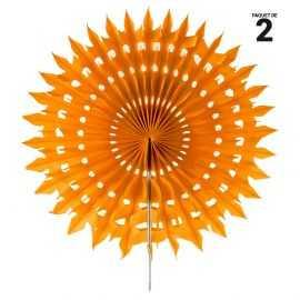 2 éventails papier dentelle orange. 20 cm