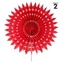 2 éventails papier dentelle rouge. 20 cm