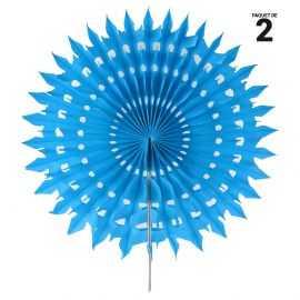 2 éventails papier dentelle turquoise. 20 cm