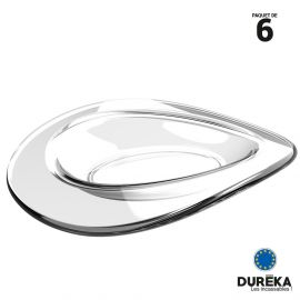 6 petites assiettes-verrines ellipse transparentes incassable, réutilisable 1 cl