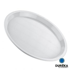 Plateau rond blanc incassable, réutilisable 32 cm