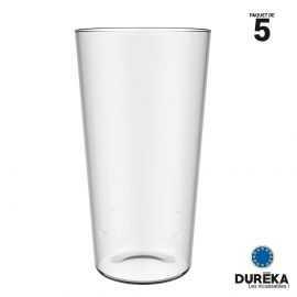 5 verres à bière transparent incassable réutilisable 60 cl conique