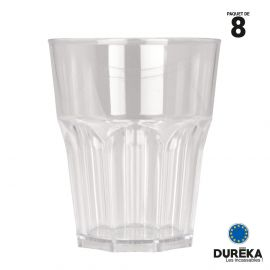 """8 verres de table """"Rox"""" transparents incassable, réutillisable 29 cl"""