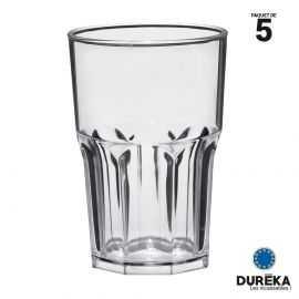 """5 verres de table """"Granity"""" transparents incassable, réutillisable 40 cl"""