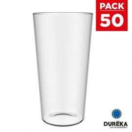 50 verres à bière transparent incassable réutilisable 60 cl conique