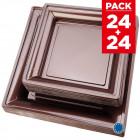 Pack 48 assiettes carrées style chocolat cuivré.