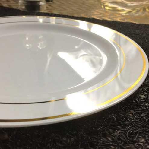 Assiettes plastique ronde liseré or 19 cm