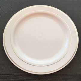 Assiette ronde liseré argent 23 cm
