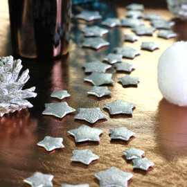 Confettis étoiles 3D argent