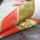 Serviettes en non-tissé étoiles rouge et or