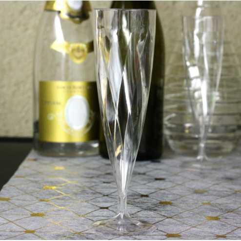 Flûtes plastique transparentes design 13,5 cl