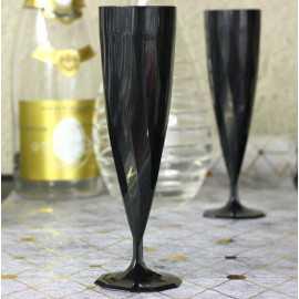 Flûtes plastique noires design 13,5 cl