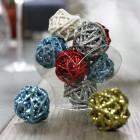 Mini-boules rotin bleu polaire 3 cm