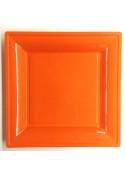 Assiettes en plastique carres style orange