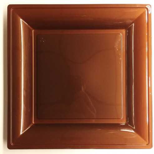 Assiettes en plastique carrées style chocolat-cuivre