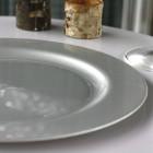 Assiettes en plastique rondes luxe gris argent