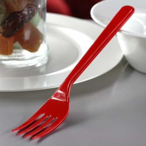 Fourchettes en plastique style rouge