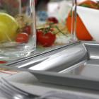 Assiettes en plastique carrées Style Gris argent