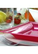 Assiettes en plastique carrées style fuschia