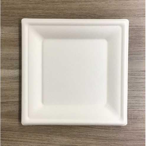 Assiettes en fibre carrées Bio 20 cm